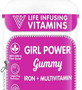 LIV Girl Power Gummy, Iron + Multivitamins Gummy, Supports Girls Iron Deficiency, Plant Based, Vegetarian, Halal, Kosher, Grape Flavor