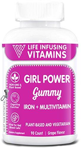 LIV Girl Power Gummy, Iron + Multivitamins Gummy, Supports Girls Iron Deficiency, Plant Based, Vegetarian, Halal, Kosher, Grape Flavor