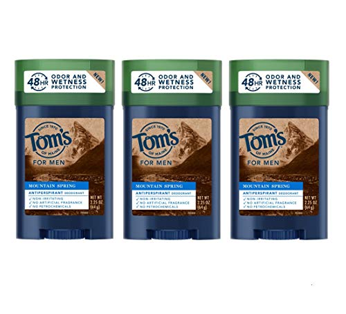 Tom's of Maine Antiperspirant for Men, Mountain Spring, 48-Hour Natural Deodorant and Natural Antiperspirant Protection, 2.25 Ounce 3-Pack