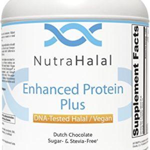 NutraHalal Enhanced Protein Plus - Halal DNA Tested - Vegan, Sugar and Stevia Free - (Dutch Chocolate)