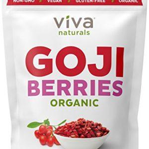 Viva Naturals Organic Dried Goji Berries, 1lb - Premium Himalayan Berries Perfect for Baking, Teas, Trail Mixes and More