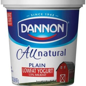 Dannon All Natural Quart Plain Lowfat Yogurt, 32 Ounce -- 6 per case.
