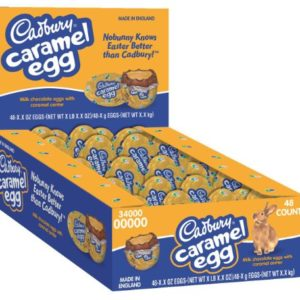 CADBURY Caramel Egg Candy, Milk Chocolate Egg Filled with Creamy Caramel, 1.2 Ounce Egg (Pack of 48)