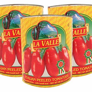 La Valle, Italian Peeled Tomatoes in Tomato Puree with Basil Leaf, Imported from Italy, 28 oz (Pack of 3)