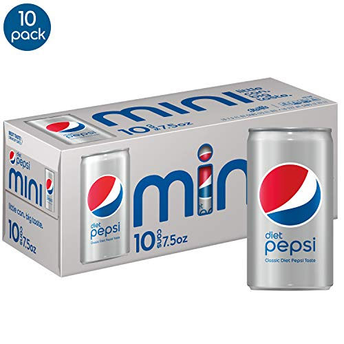 Diet Pepsi Soda, 7.5 Ounce Mini Cans, 10 Pack