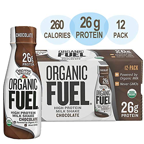 Organic Valley Chocolate Milk Protein Shake, Healthy Snacks for Post Workout Recovery, Organic Fuel High Protein 26g, 11oz (Pack of 12)