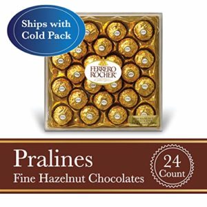Ferrero Rocher Fine Hazelnut Milk Chocolate, 24 Count, Chocolate Candy Gift Box, 10.5 oz