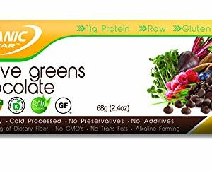 Organic Food Bar - Active Greens Chocolate Bars, USDA Organic Active Greens Bar with Superfood Blend with Powerful Antioxidants (Pack of 12, 2.3 oz)