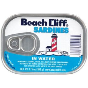 BEACH CLIFF Sardines in Water, Wild Caught, High Protein Food, Keto Food and Snacks, Gluten Free Food, High Protein Snacks, Canned Food, Bulk Sardines, 3.75 Ounce Cans