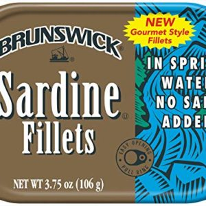 Brunswick Boneless Herring Fillets In Tomato & Basil Sauce Seafood Snacks, 3.53 Ounce Tins