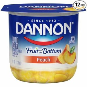 Dannon Fruit on the Bottom Peach Yogurt, 6 Ounce -- 12 per case.