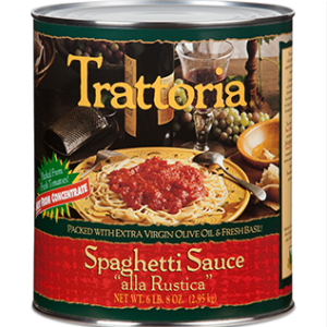 Trattoria, Spaghetti Sauce Alla Rustica with Extra Virgin Olive Oil and Fresh Basil, 102 oz