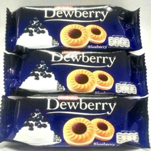 Dewberry Sandwich Cookies with Cream and Blueberry Flavoured Jam Net Wt 36 g. X 3 Bags by Thai Premium