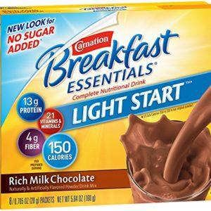 Carnation Breakfast Essentials Light Start Powder Drink Mix, Rich Milk Chocolate, 8 Packets (Pack of 8 Boxes)