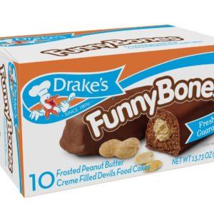 Drakes Funny Bones Snack Cakes, 10 cakes per box, 13.73oz of Funny Bones Peanut Butter Filled Devil's Cakes (4-Boxes)