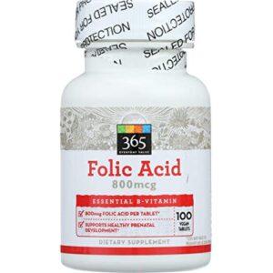 365 Everyday Value, Folic Acid 800mcg, 100 ct