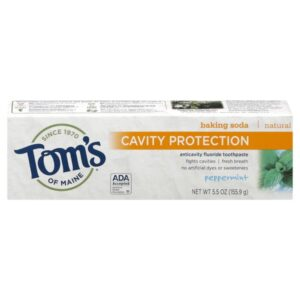 Tom's of Maine Natural Toothpaste with Baking Soda and Fluoride, Peppermint, 5.5 Ounce 2-Count