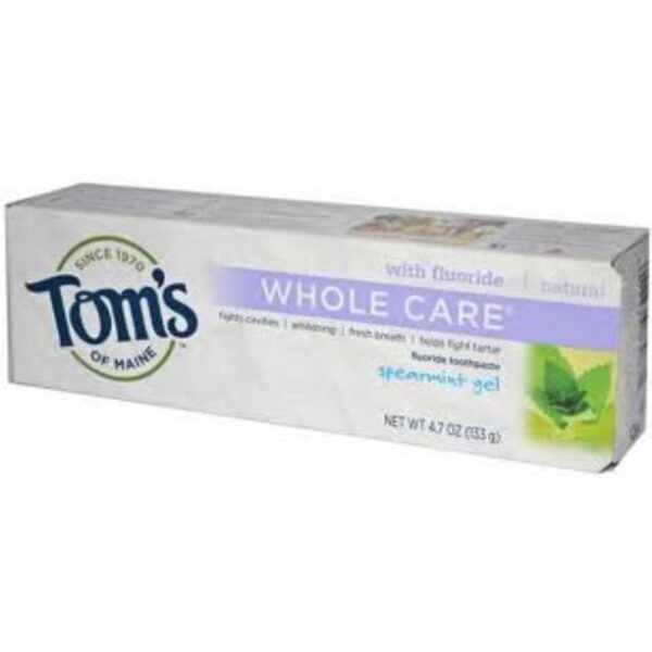 Tom's of Maine Tom's of maine whole care toothpaste with flouride spearmint flavor 4.7 ounce tube (pack of 3)