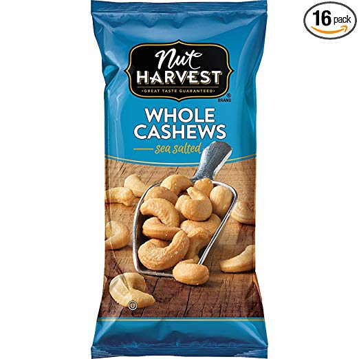 Nut Harvest Sea Salted Whole Cashews, 2.25 Ounce (Pack of 16)