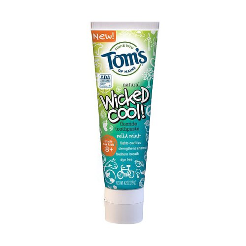 Tom's of Maine Wicked Cool! Toothpaste Anticavity with Fluoride, Mild Mint 4.2 oz (Pack of 2)