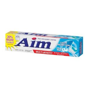 Aim Cavity Protection Ant Cavity Fluoride Toothpaste, Ultra Mint Gel, 5.5 Ounce, Pack of 6