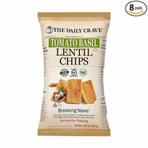 The Daily Crave Tomato Basil Lentil Chips, Tomato Basil, 4.25 Ounce (Pack of 8)