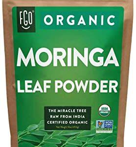 Organic Moringa Oleifera Leaf Powder - Perfect for Smoothies, Drinks, Tea & Recipes - 100% Raw From India - 16oz Resealable Bag (1 Pound) - by Feel Good Organics