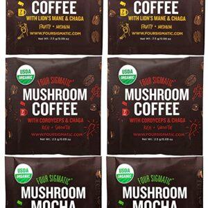 Four Sigmatic Mushroom Coffee Sampler Pack - Mocha with Chaga, Cordyceps and Chaga, Lion's Mane and Chaga, Adaptogen Coffee with Tulsi and Astragalus (8 Pack) - Organic, Vegan, Paleo
