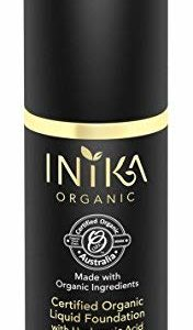 INIKA Certified Organic Liquid Foundation with Hyaluronic Acid All Natural Make-up Base, Flawless Long-Lasting Coverage, Lightweight, Hypoallergenic, Halal, 30 ml (1oz) (Tan)