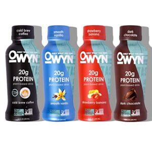 OWYN 100% Plant-Based Vegan Allergen-Friendly Protein Shake - 4 Flavor Variety Pack - 12 oz Bottles (Pack of 12)