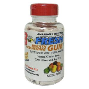 B Fresh Freshening Fruit, Xylitol Gum, Natural Gum, Vegan, B12, No Sugar, 100 Count
