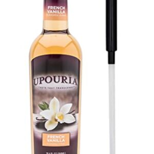 Upouria Coffee Syrup - French Vanilla Flavoring, 100% Gluten Free, Vegan, and Non Dairy 750 mL Bottle - Coffee Syrup Pump Included