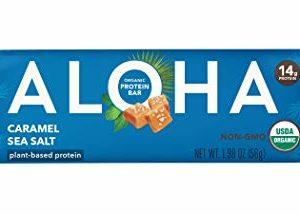 ALOHA Organic Plant Based Protein bar, Caramel Sea Salt, 1.9 oz, 12 bars, Vegan, Non-GMO, Stevia Free, Soy Free, Dairy Free, 12Count