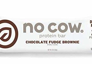 No Cow Protein Bar, Chocolate Fudge Brownie, 21g Plant Based Protein, Keto Friendly, Low Sugar, Dairy Free, Gluten Free, Vegan, High Fiber, Non-GMO, 12 Count