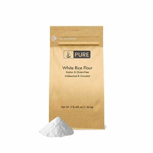 White Rice Flour (3 lb.) by Pure Organic Ingredients, Kosher, Gluten-Free, Fat-Free, Sodium-Free, Unbleached & Untreated, Vegan