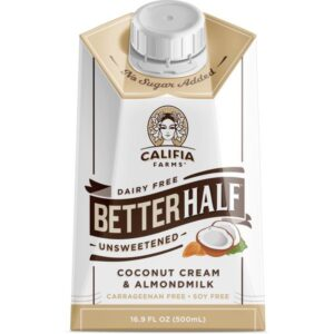 Califia Farms Unsweetened Better Half Coffee Creamer, 16.9 Oz   Coconut Cream and Almondmilk   Half & Half   Dairy Free   Whole30   Keto   Vegan   Plant Based   Nut Milk   Non-GMO