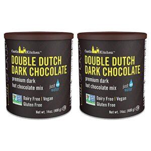 Double Dutch Dark Chocolate - Dairy-Free, Vegan Premium Hot Chocolate Mix - Just Add Water (Pack of 2)