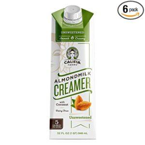 Califia Farms Unsweetened Almondmilk Coffee Creamer with Coconut Cream, 32 Oz (Pack of 6) | Dairy Free | Whole30 | Keto | Vegan| Plant Based | Nut Milk | Non-GMO