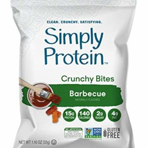 SimplyProtein Protein Chips (Barbeque). Crunchy Vegan Chips made with Plant-Based Pea Protein (12 Total Bags).