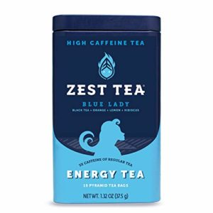 Zest Tea Premium Energy Hot Tea, High Caffeine Blend Natural & Healthy Traditional Black Coffee Substitute, Perfect for Keto, 150 mg Caffeine per Serving, Blue Lady Black Tea, Tin of 15 Sachet Bags