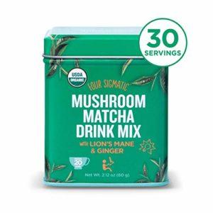 Four Sigmatic Mushroom Matcha, USDA Organic, Ceremonial Grade Matcha Grean Tea Powder with Lions Mane Mushroom Powder & Ginger, Balanced Energy & Focus, Vegan, Paleo, 60g - 20 servings, 2.12 Ounce