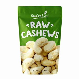 Deluxe Whole Cashews, 4 Pounds - Raw Nuts, Unsalted, Unroasted Fancy Snack, Kosher, Vegan, Large Size, Bulk, A good source of Magnesium, Phosphorus, Copper & Manganese