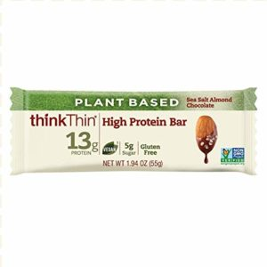 thinkThin Plant Based High Protein Bars - Sea Salt Almond Chocolate, Vegan Friendly, 13g Protein, Low Sugar, Low Net Carbs, No Artificial Sweetners, Gluten Free, GMO Free, 10 Count