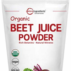 Organic Beet Root Juice Powder, 2 Pounds (32 Ounce), Natural Nitrates for Energy Booster, Superfoods for Beverage and Smoothie, No GMOs and Vegan Friendly