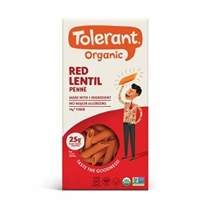 Tolerant Organic Gluten Free Red Lentil Penne Pasta, 8 Ounce Box (Pack of 1), Plant Based Protein, Vegan Pasta, Single Ingredient Protein Pasta, Whole Food, Clean Pasta, Low Glycemic Index Pasta