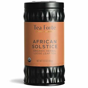 Tea Forte Organic Herbal Tea, Makes 35-50 Cups, 3.53 Ounce Loose Leaf Tea Canister, African Solstice