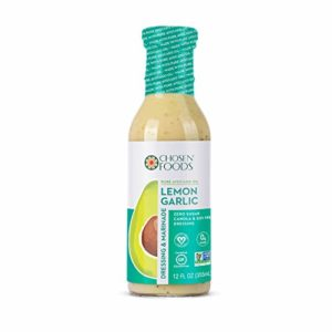 Chosen Foods Avocado Oil-Based Lemon Garlic Dressing and Marinade 12 oz., Non-GMO, Certified Vegan, Gluten Free, Dairy Free, Soy Free and Canola Free
