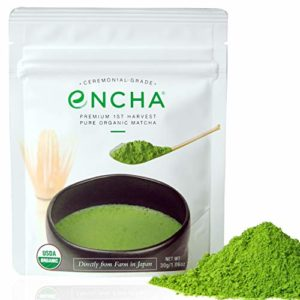 Encha Ceremonial Organic Matcha (USDA Organic Certificate and Antioxidant Content Listed, Premium First Harvest Directly from Farm in Uji, Japan, 30g/1.06oz in Resealable Pouch)