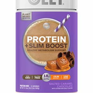 OLLY Protein + Slim Boost, Protein Powder, 21.2 oz (15 Servings), Salted Caramel Chocolate, 18g Plant Protein, Vegan