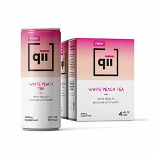 qii White Peach Tea - Guilt-Free All Natural Tea, Tooth-Friendly, Neutral pH, Sweetened with Xylitol, Dentist-Approved, Organic, Vegan and Gluten-Free, 4 pack - 8 Oz cans...